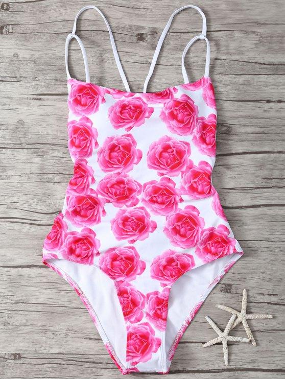 fashion Back Strappy Floral Print One Piece Swimwear - WHITE XL