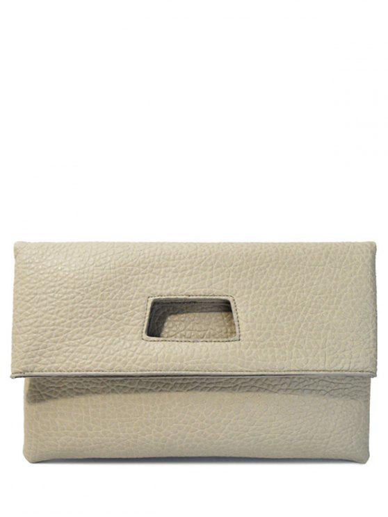 ladies Magnetic Closure Cut Out PU Leather Clutch Bag - LIGHT GRAY