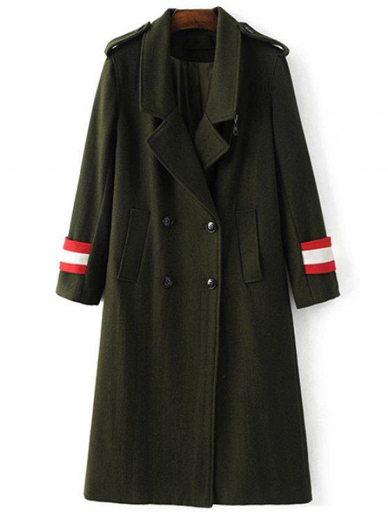 buy Military Style Wool Blend Coat - ARMY GREEN M