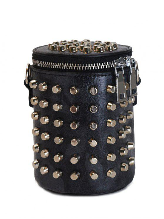 new Zippers Metal Rivets Cylinder Shape Crossbody Bag - BLACK