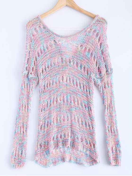sale Openwork Mixed Color Sweater - COLORMIX ONE SIZE