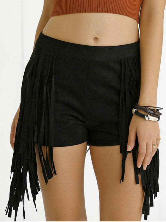 trendy Tassels High Waisted Black Shorts - BLACK XL