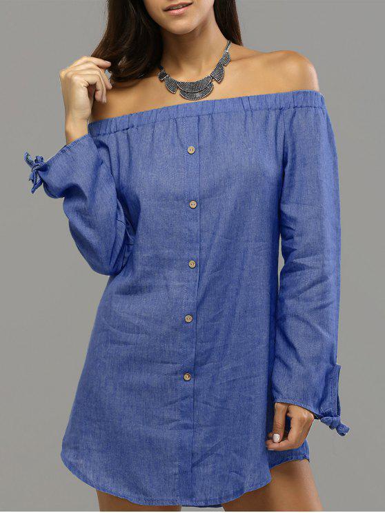 9e66f387505a 35% OFF  2019 Off Shoulder Bowknot Denim Shift Dress In DEEP BLUE ...