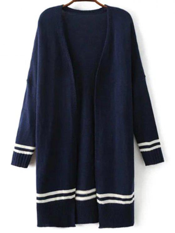trendy Drop Shoulder Sleeve Open Cardigan - PURPLISH BLUE L