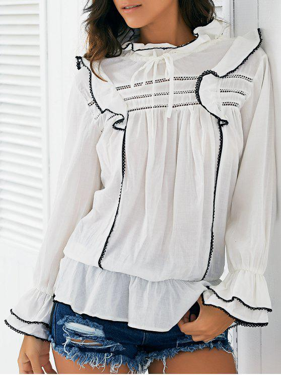 chic Lace Spliced Ruff Collar Bell Sleeve Blouse - WHITE ONE SIZE