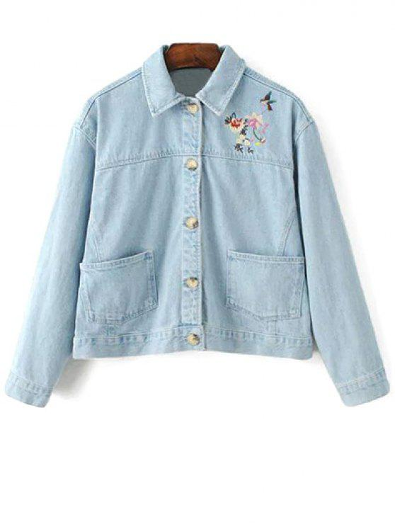 affordable Embroidered Bleach Wash Denim Jacket - LIGHT BLUE L