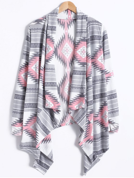 outfit Geometric Pattern Long Sleeve Cashmere Cardigan - LIGHT GRAY M