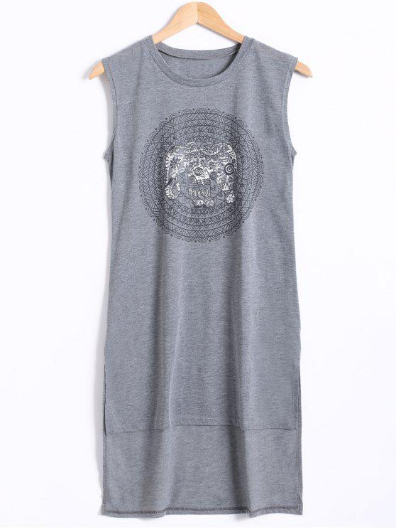 best High Low Hem Sleeveless Elephant Print Dress - GRAY M