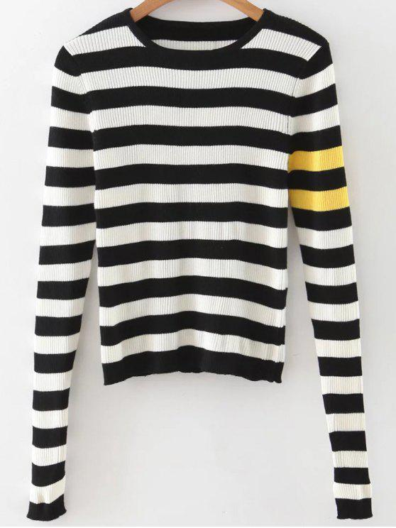 unique Stripe Pullover Sweater - WHITE AND BLACK M
