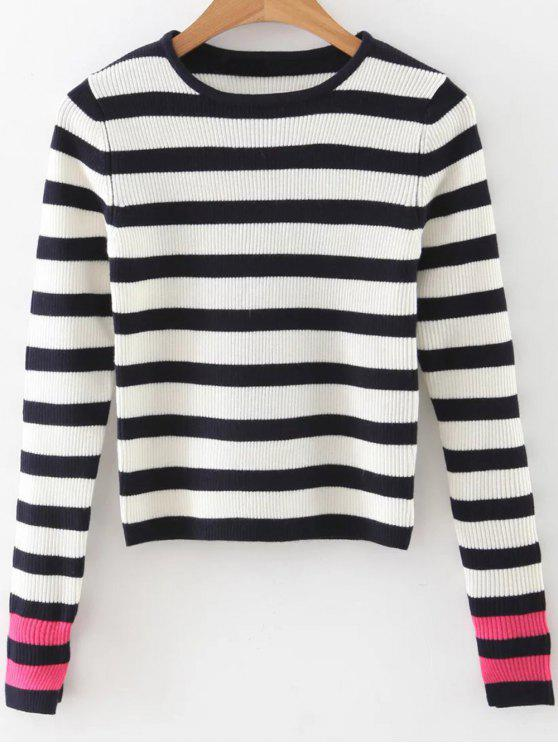 womens Long Sleeves Striped Sweater - BLACK AND WHITE AND RED S