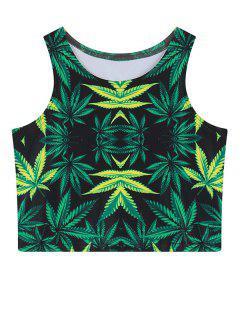 Leaf Print Crop Top - Green