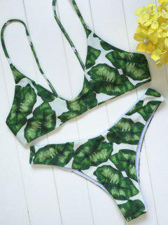Palm Leaf Print Bikini Set - White And Green S