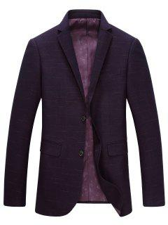 Lapel Single-Breasted Long Sleeve Blazer - Purplish Red M