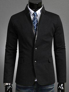 Single Breasted Stand Collar Blazer - Black Xl