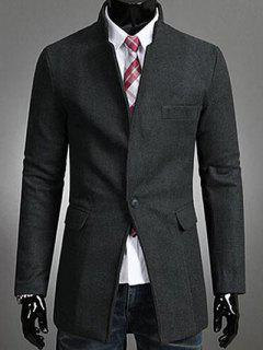 Single Button Stand Collar Wool Coat - Deep Gray M