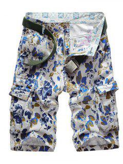 Floral Print Multi Pockets Zipper Fly Cargo Shorts - Blue 34
