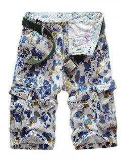Floral Print Multi Pockets Zipper Fly Cargo Shorts - Blue 31