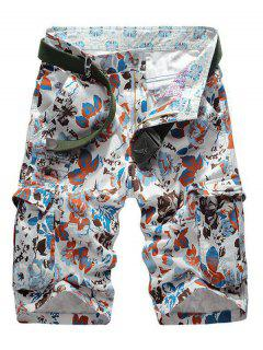 Floral Print Multi Pockets Zipper Fly Cargo Shorts - Red 32