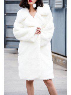 Plein Manteau à Manches En Fausse Fourrure - Blanc Xxs