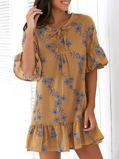 Flare Sleeve Printed Flouncing Spliced Dress - Earthy
