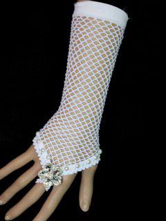Faux Crystal Grid Glove Bracelet - White
