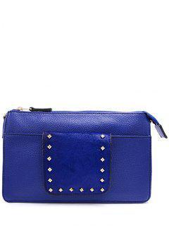 Horsehair Splicing Rivets Clutch Bag - Blue