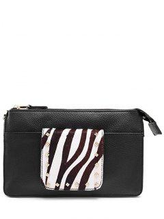 Horsehair Splicing Rivets Clutch Bag - White And Black