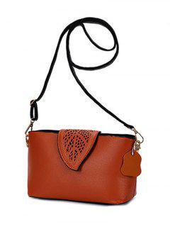 Hollow Out Leaf Pattern Shoulder Bag - Brown