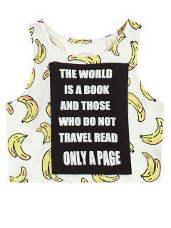 Banana Print Crop Top - White