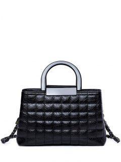 Plaid Pattern Chain PU Leather Tote Bag - Black