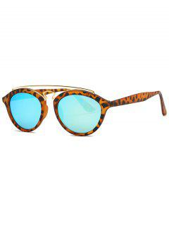 Crossbar Leopard Mirrored Trendsetter Sunglasses - Light Blue