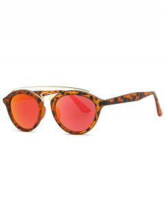 Crossbar Leopard Mirrored Trendsetter Sunglasses - Red