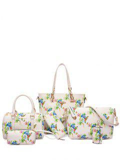 Metal Floral Print Zipper Shoulder Bag - Off-white