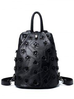 Los Remaches Costura Flores Satchel - Negro