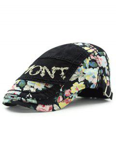 Outdoor Letter Embroidery Tiny Flower Casual Ivy Newsboy Cap - Black