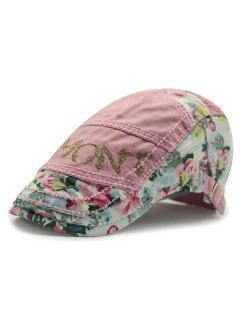 Outdoor Letter Embroidery Tiny Flower Casual Ivy Newsboy Cap - Pink