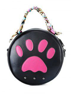 Round Shape Color Splicing Stars Crossbody Bag - Black