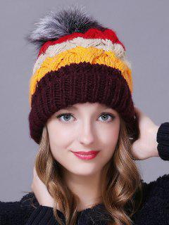 Outdoor Faux Fur Ball Striped Knitted Beanie - Coffee
