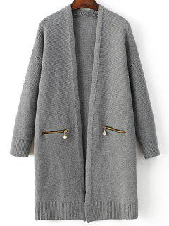 Zipper Pockets Long Sleeve Cardigan - Deep Gray