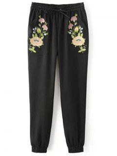Pantalones De Jogging Bordados - Negro M