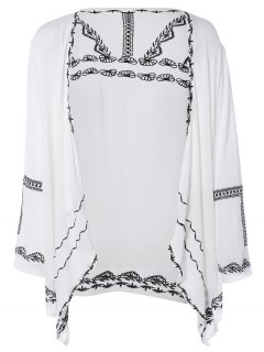 Retro Embroidery Long Sleeve Kimono - White