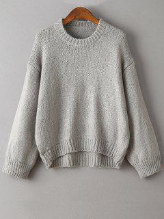 Épaule Dépouillé Col Rond Manches Épaissir Sweater - Gris