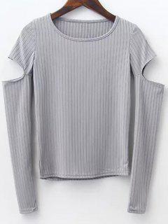 Pullover Mit Kerbe An Der Hülsen - Grau S