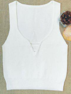 Sin Mangas De Cuello En V Suéter - Blanco S
