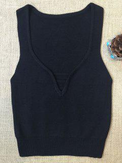 Sleeveless V Neck Sweater - Black S