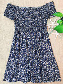 Smocked Tiny Floral Print Off The Shoulder Dress - Blue S