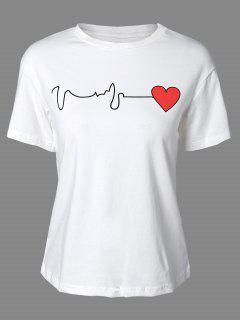 Corazón De Impresión Cuello Redondo Manga Corta De La Camiseta - Blanco S