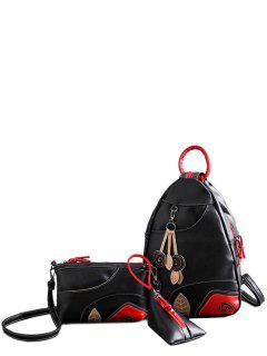 Knots Leaf Pattern PU Leather Backpack - Black