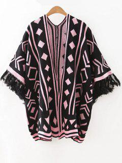 Jacquard Knit Dolman Cardigan - Black