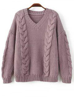 Braid Knit Pullover Sweater - Purple